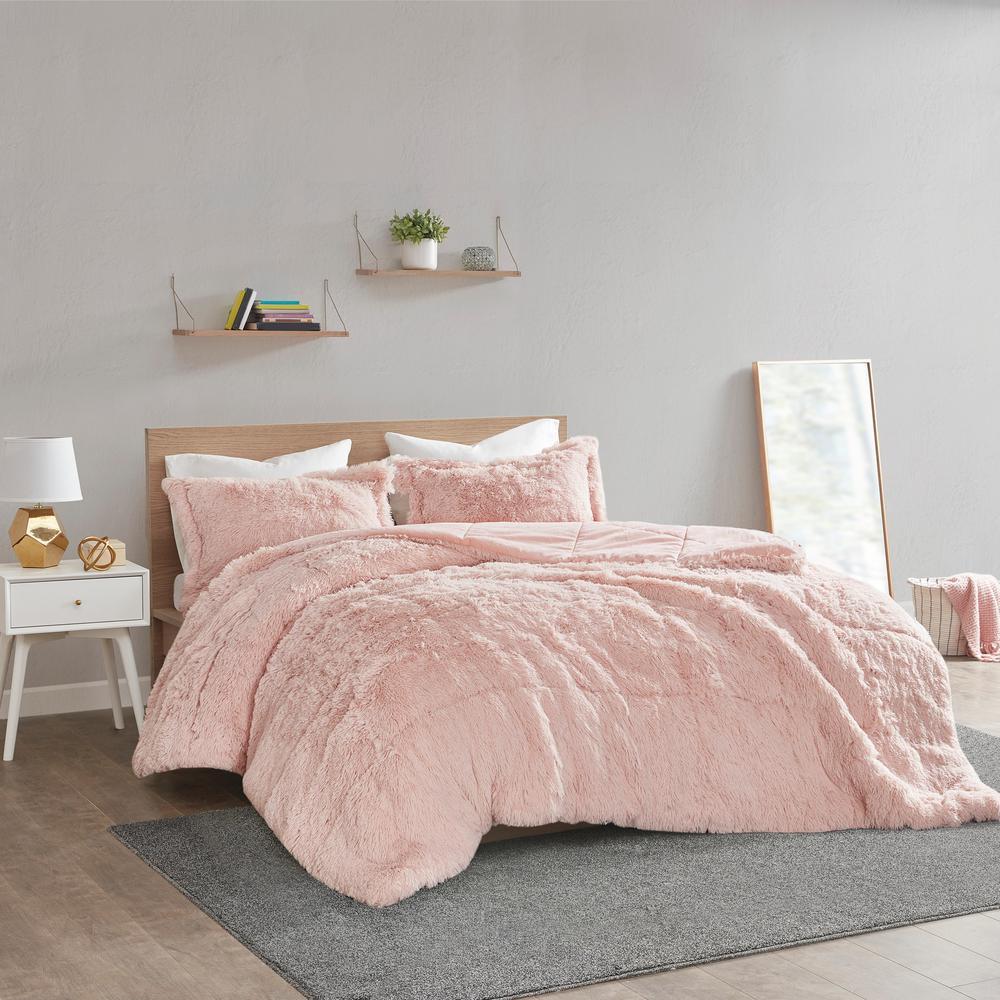 Leena 3-Piece Blush Textured Shaggy Faux Polyester Fur Full/Queen Comforter Set