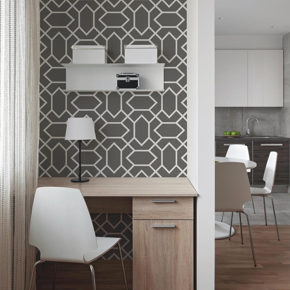 Roommates 28 18 Sq Ft Dark Grey Modern Geometric Peel