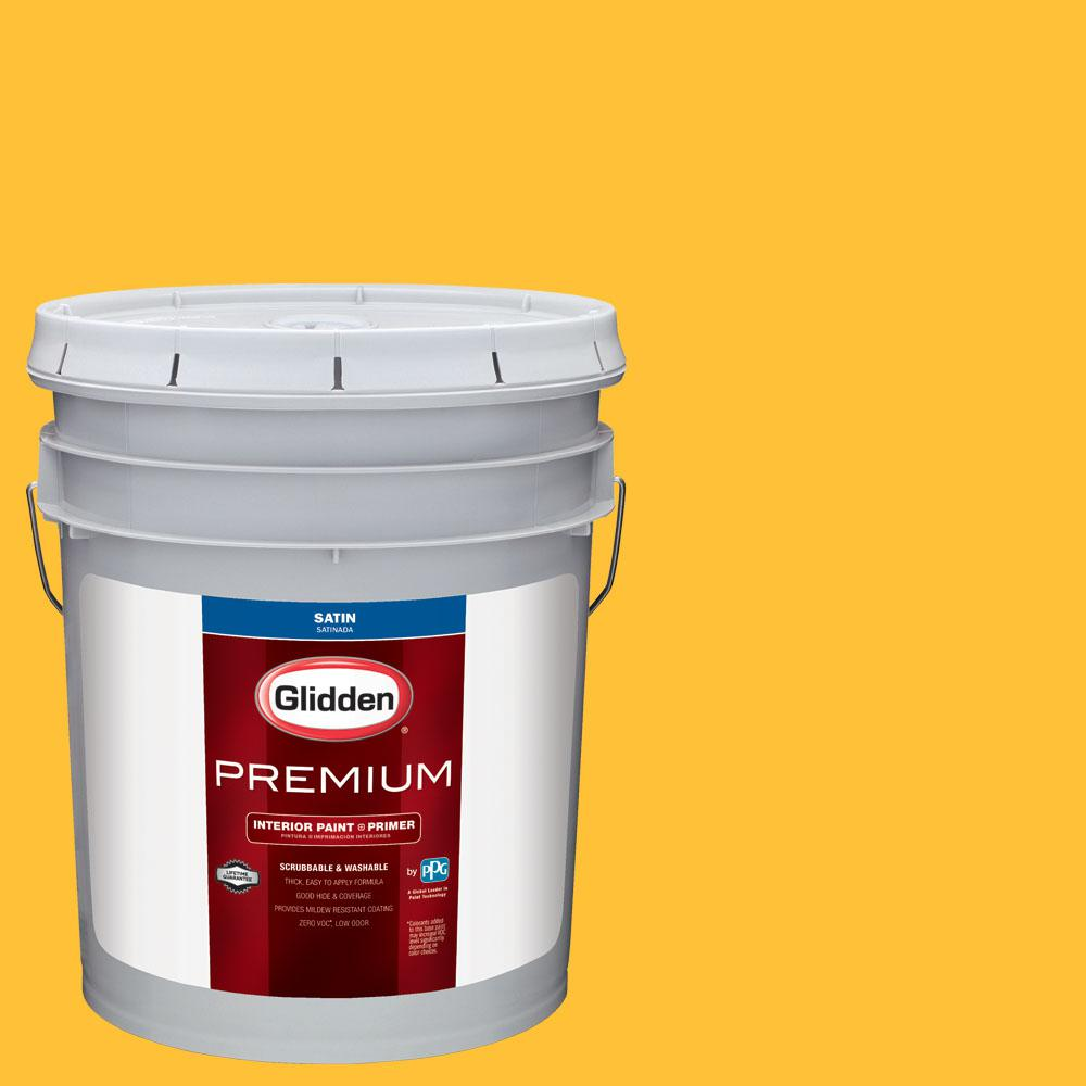 Glidden Premium 5 gal. #wnba-127D Los Angeles Sparks Yellow Satin Interior Paint with Primer