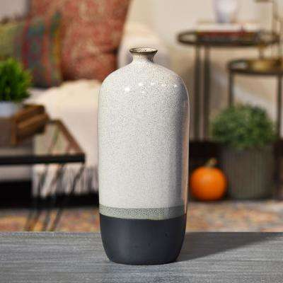 Gray Gloss Stoneware Decorative Vase