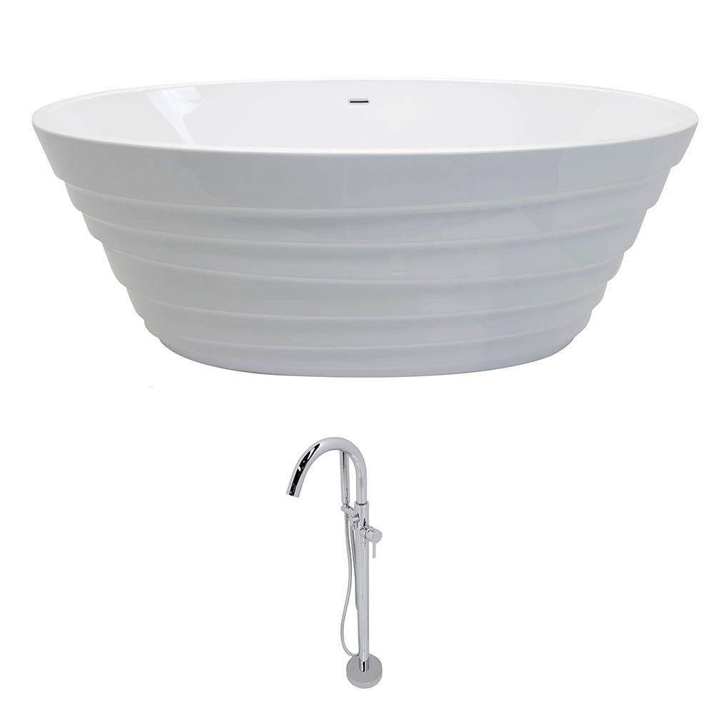 Nimbus 5.6 ft. Acrylic Classic Flatbottom Non-Whirlpool Bathtub in White with