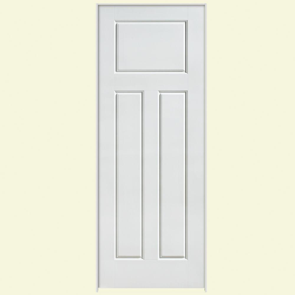 Masonite Solidoor Glenview Smooth 3-Panel Craftsman Solid Core Primed Composite Single Prehung Interior Door