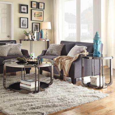 DuPont Dark Nickel Glass Top End Table