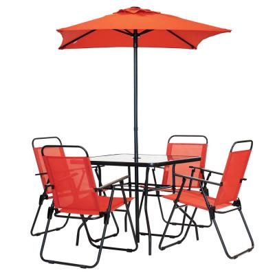 6-Piece Metal Square Outdoor Patio Table Set in Ruby Red
