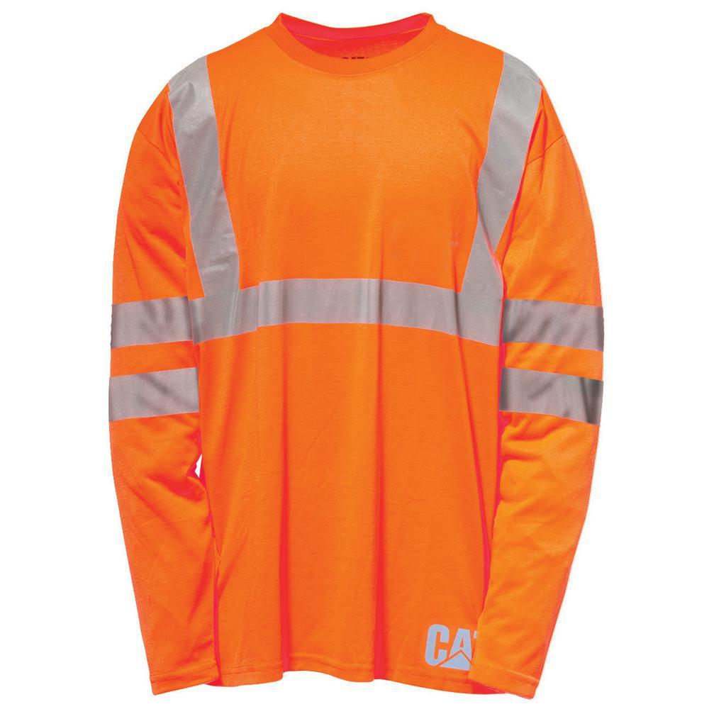 Hi-Vis Men's 2X-Large Orange Polyester ANSI Class 2-Long Sleeved T-Shirt