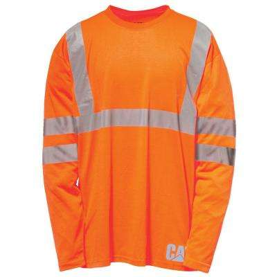 Hi-Vis Men's X-Large Orange Polyester ANSI Class 2-Long Sleeved T-Shirt