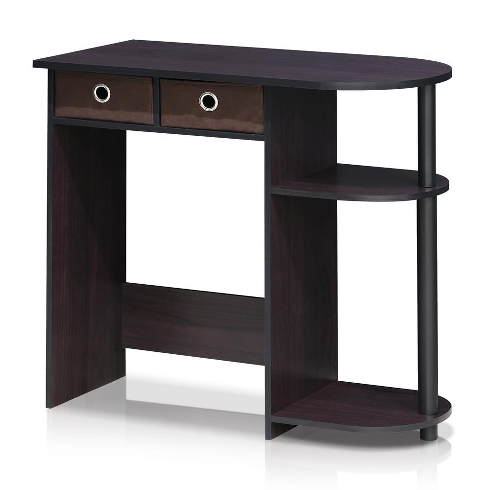 32 in. Rectangular Walnut 2 Drawer Computer Desk with Built-In Storage