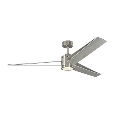 Armstrong 60 in. Integrated LED Brushed Steel Ceiling Fan with Silver Blades with Light Kit