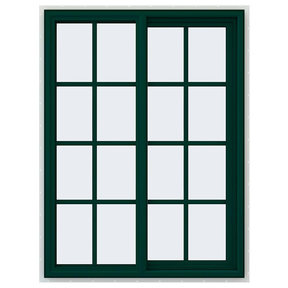 JELD-WEN 35.5 in. x 47.5 in. V-4500 Series Right-Hand Sliding Vinyl Window with Grids - Green