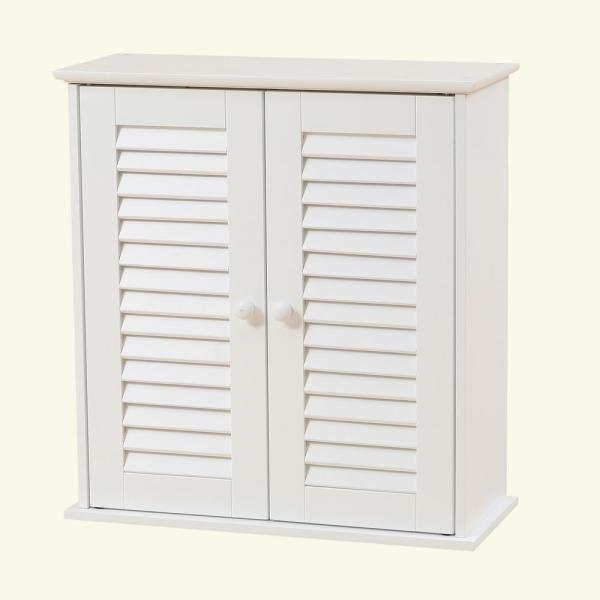 Luxen Home Shutter Door Bathroom White Wall Cabinet Whif629 The