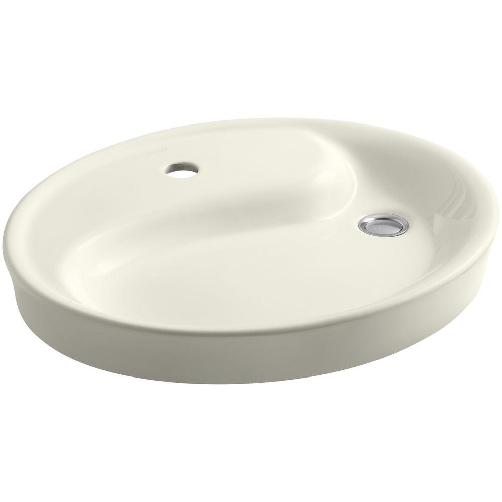 KOHLER Yin Yang Wading Pool Drop-In Vitreous China Bathroom Sink in Biscuit with Overflow Drain