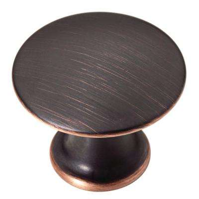 Discus 1-1/8 in. (28mm) Bronze with Copper Highlights Round Cabinet Knob