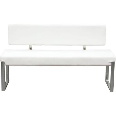 55 in. L x 17 in. W x 28 in. H White and Silver Leatherette Upholstered Bench with Stainless Steel Frame