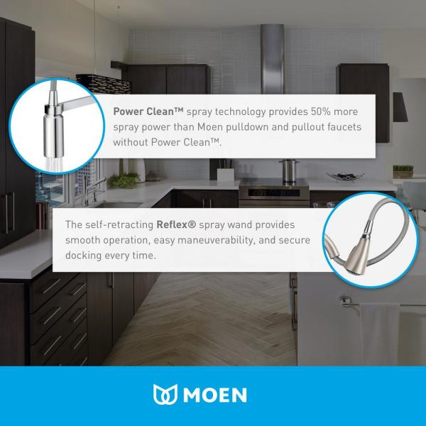 Moen Indi Single Handle Pull Down Sprayer Kitchen Faucet With Reflex And Power Clean In Matte Black 87090bl The Home Depot