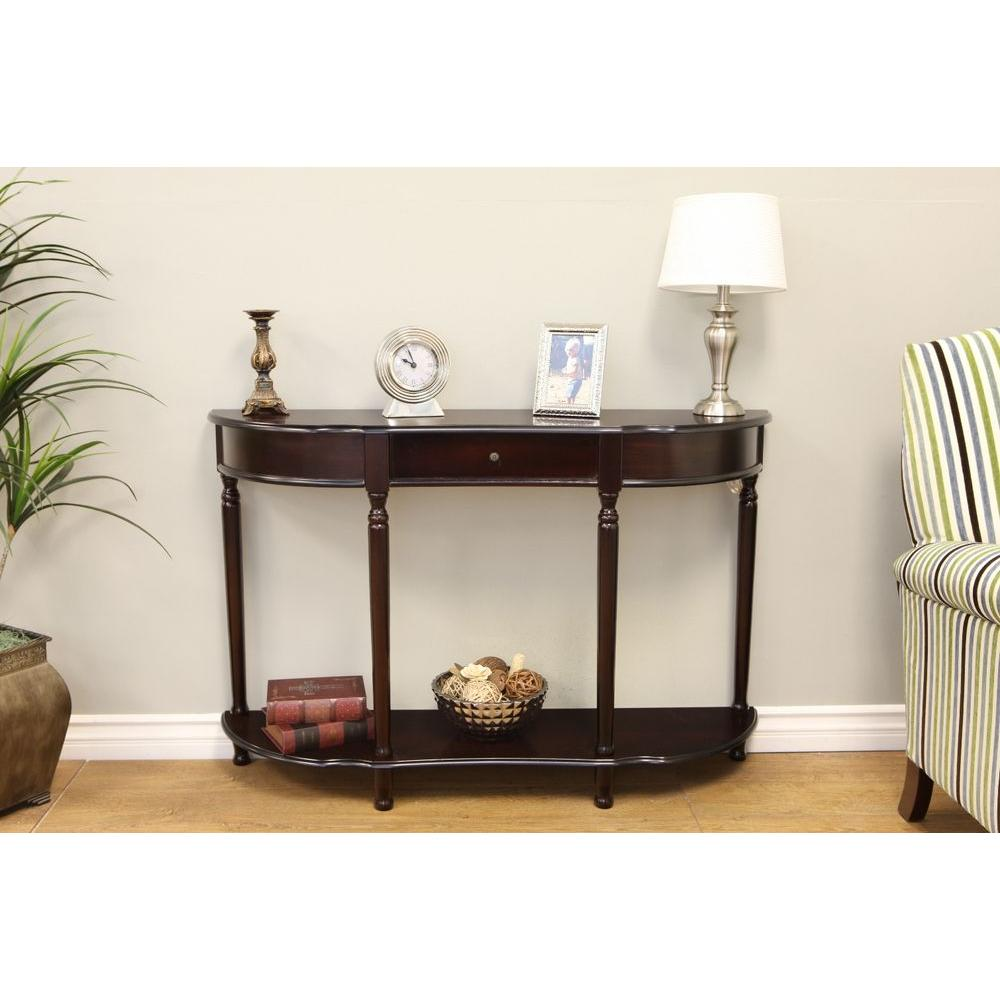 Frenchi Home Furnishing Dark Cherry Storage Console Table Mh159