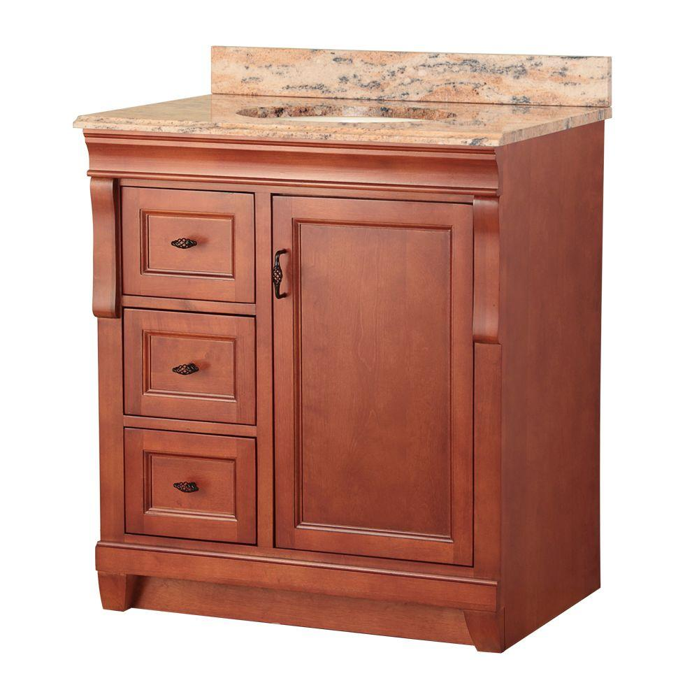 Foremost Naples 31 in. W x 22 in. D Vanity in Warm Cinnamon with Left Drawers with Vanity Top and Stone Effects in Bordeaux
