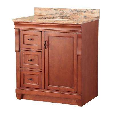 Naples 31 in. W x 22 in. D Vanity in Warm Cinnamon with Left Drawers with Vanity Top and Stone Effects in Bordeaux