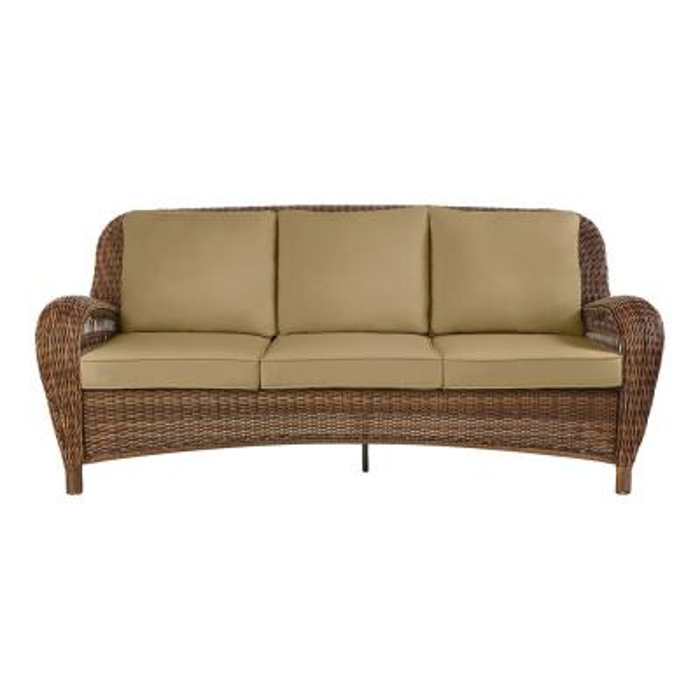 Beacon Park Brown Wicker Outdoor Patio Sofa with CushionGuard Toffee Tan Cushions