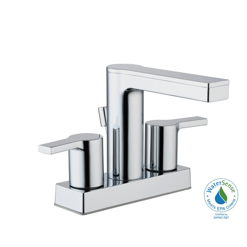 Modern Contemporary 4 in. Centerset 2-Handle Low-Arc Bathroom Faucet in Chrome