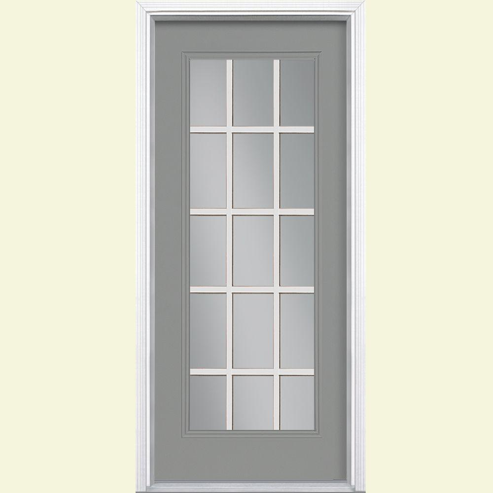 Masonite 32 in. x 80 in. 15 Lite Right-Hand Inswing Painted Steel Prehung Front Door with Brickmold