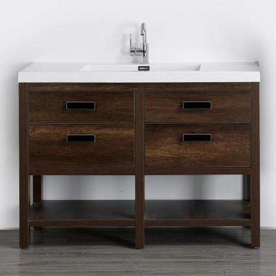 47.2 in. W x 32.5 in. H Bath Vanity in Brown with Resin Vanity Top in White with White Basin
