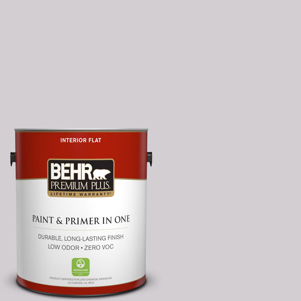 BEHR Premium Plus 1 gal. #N570-1 Opera Flat Zero VOC Interior Paint and Primer in One