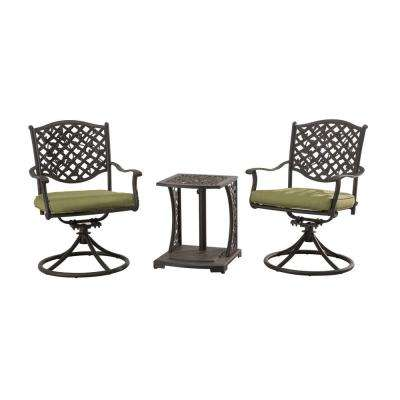 Vining 3-Piece Patio Bistro Set with Green Cushions