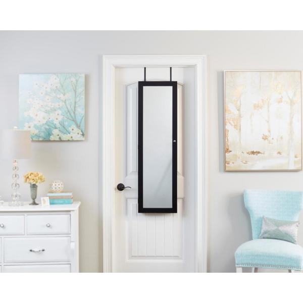 FirsTime 47 in. Black Mirrored Jewelry Armoire