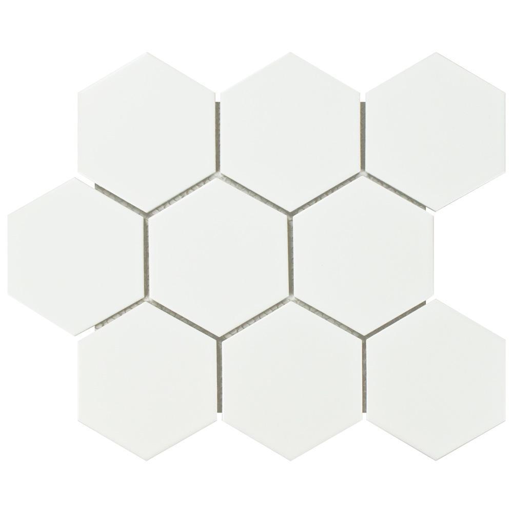 Metro Super Hex Matte White 10 in. x 11-1/2 in. x 6 mm Porcelain Mosaic Tile (8.17 sq. ft. / case)