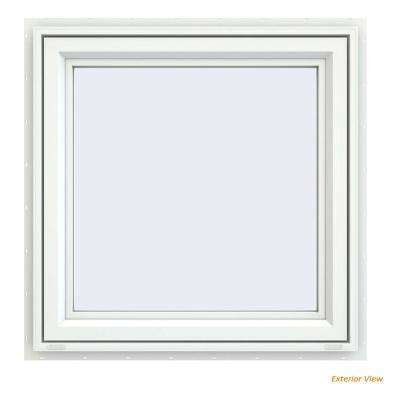 35.5 in. x 35.5 in. V-4500 Series White Vinyl Right-Handed Casement Window with Fiberglass Mesh Screen