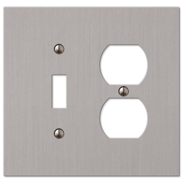 Barnard 2 Gang 1-Toggle and 1-Duplex Metal Wall Plate - Brushed Nickel