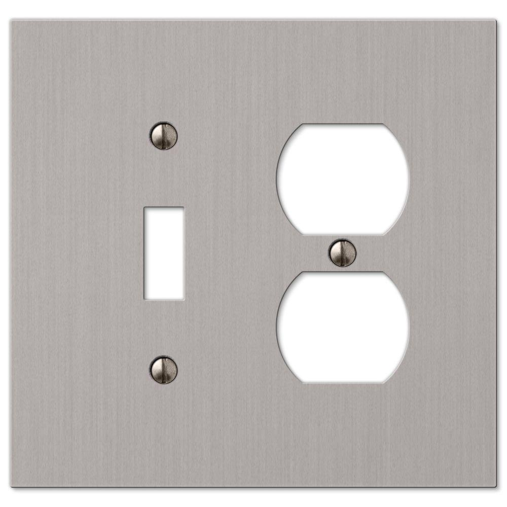 hampton bay elan 1 toggle 1 duplex wall plate brushed nickel 55tdbn the home depot. Black Bedroom Furniture Sets. Home Design Ideas