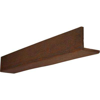 4 in. x 12 in. x 14 ft. 2-Sided (L-Beam) Rough Sawn Pecan Faux Wood Beam