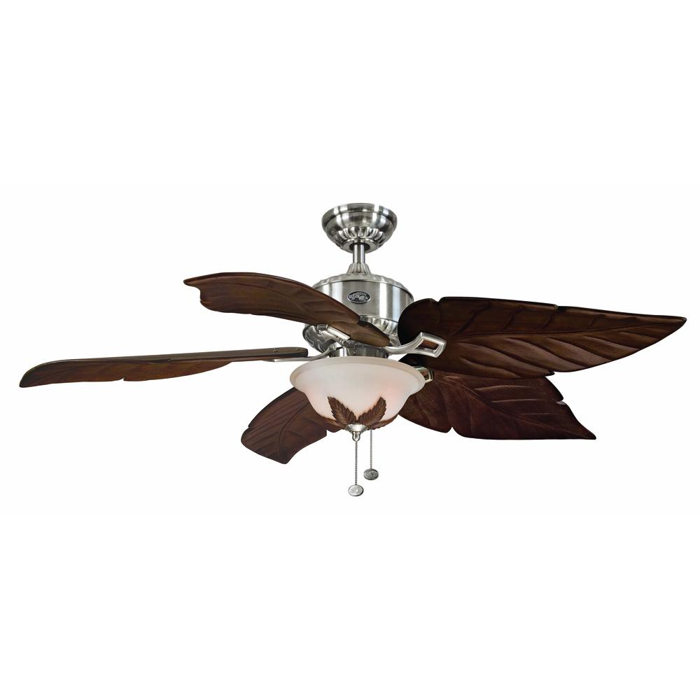 Hampton Bay Antigua Plus 56 in. LED Indoor Brushed Nickel Ceiling Fan with  Light Kit