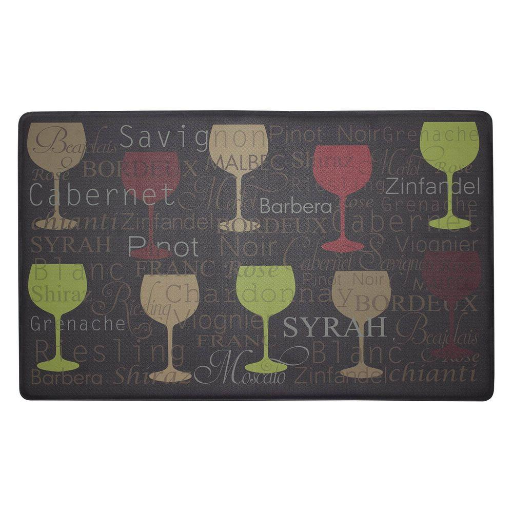 Chef Gear Wine Typography 18 In X 30 Foam Comfort Kitchen Mat