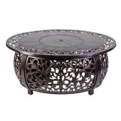 40 in. x 24 in. Toulon Oval Cast Aluminum LPG Fire Pit