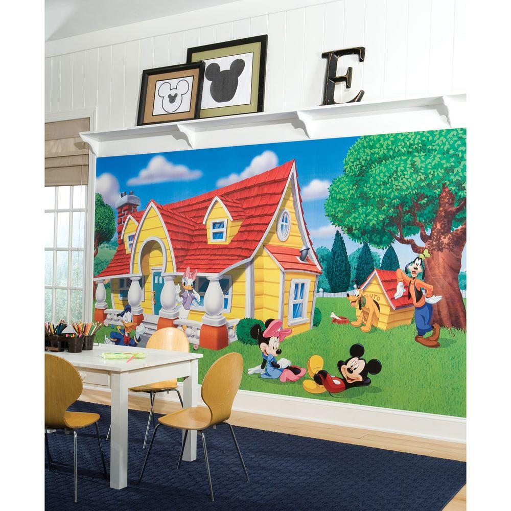 Null Mickey U0026 Friends Chair Rail Prepasted Mural 6 Ft. X 10.5 Ft. Ultra Part 77