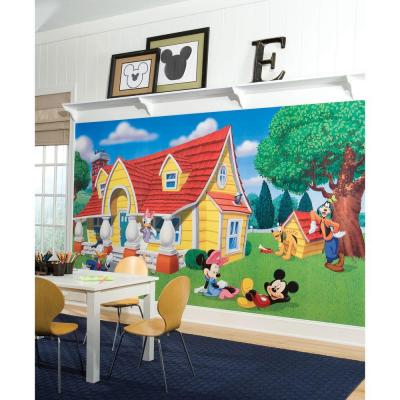 Mickey & Friends Chair Rail Prepasted Mural 6 ft. x 10.5 ft. Ultra-strippable Wall Applique US/MEXICO/RUSSIA