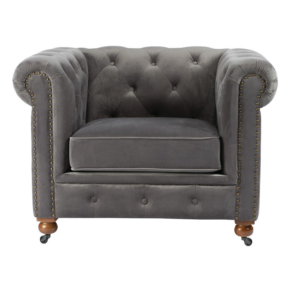 Home Decorators Collection Gordon Grey Velvet Arm Chair