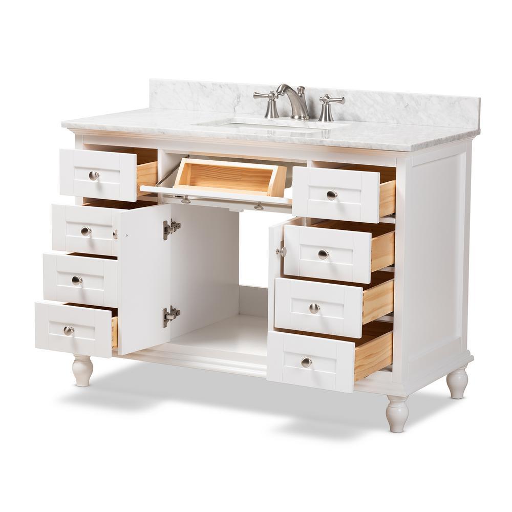 48 in. W x 34.7 in. H Bath Vanity in White w/ High Gloss White Basin w/ Vanity Top in White w/ High Gloss White Basin