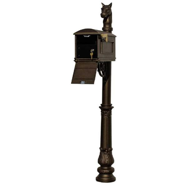 Lewiston Bronze Post Mount Locking Insert Mailbox with decorative Ornate Base and Horsehead Finial