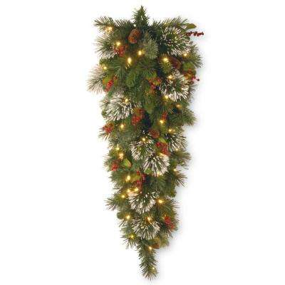 Wintry Pine 48 in. Teardrop with Battery Operated Warm White LED Lights
