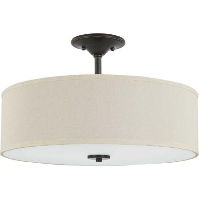 Inspire 18 in. Antique Bronze 3-Light Semi-Flush Mount