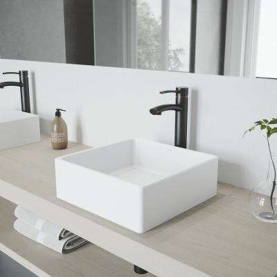 Dianthus Matte Stone Vessel Sink and Antique Rubbed Bronze Milo Faucet Set with Pop-up Drain in Matte White