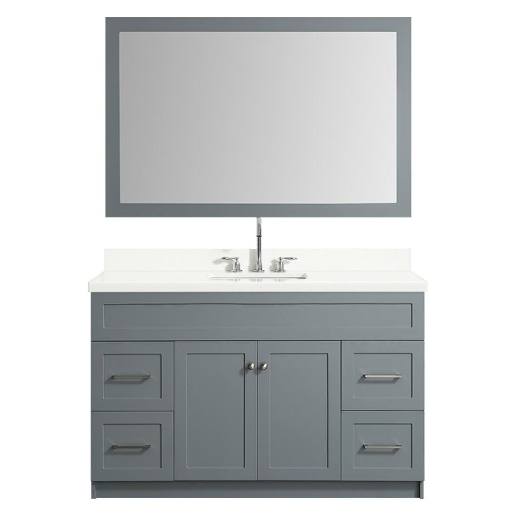 Ariel 55 in. Bath Vanity in Grey with Quartz Vanity Top in White with White Basin and Mirror