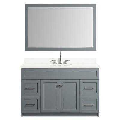 55 in. Bath Vanity in Grey with Quartz Vanity Top in White with White Basin and Mirror
