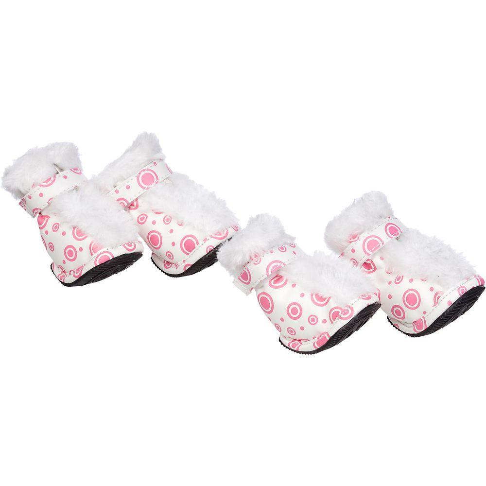 Petlife Fashion Premium Fur-Comfort Supportive Pet Waterproof Boots Shoes - Set of 4 White Medium
