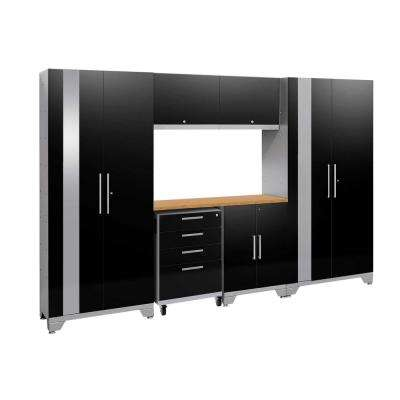 Performance 2.0 77.25 in. H x 108 in. W x 18 in. D 24-Gauge Welded Steel Bamboo Worktop Cabinet Set in Black (7-Piece)