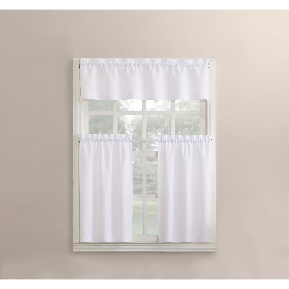 Martine White Microfiber Kitchen Curtains (3 Piece Set)   54 In. W