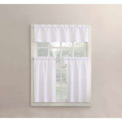 Martine White Microfiber Kitchen Curtains 3 Piece Set